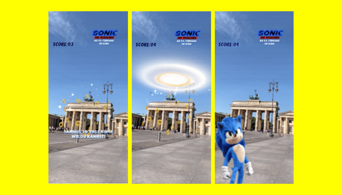 Screenshots des neuen Snapchat Game Sonic The Headgehog